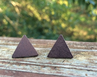 17mm Wood nickel-free earrings - black triangle earrings