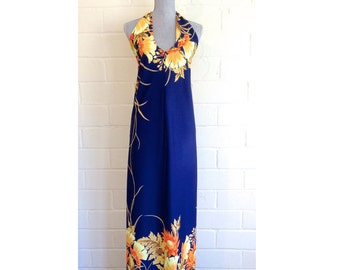 SALE! Vintage 70s maxi dress - halter tie neck - sundress - tropical floral - dark blue navy blue orange yellow