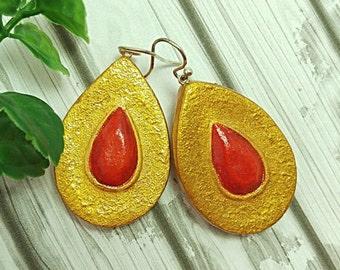 SALE, Shield earrings, Tribal earrings, Orange and gold, Ethnic earrings, Artisan earrings with sterling silver hooks, Air dry clay