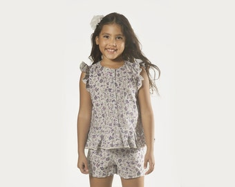 "Floral Girls Lavender Blouse in Girls Sizes 2 to 9 Years -- The ""Cottage Garden"" Peplum Top in Sprig"