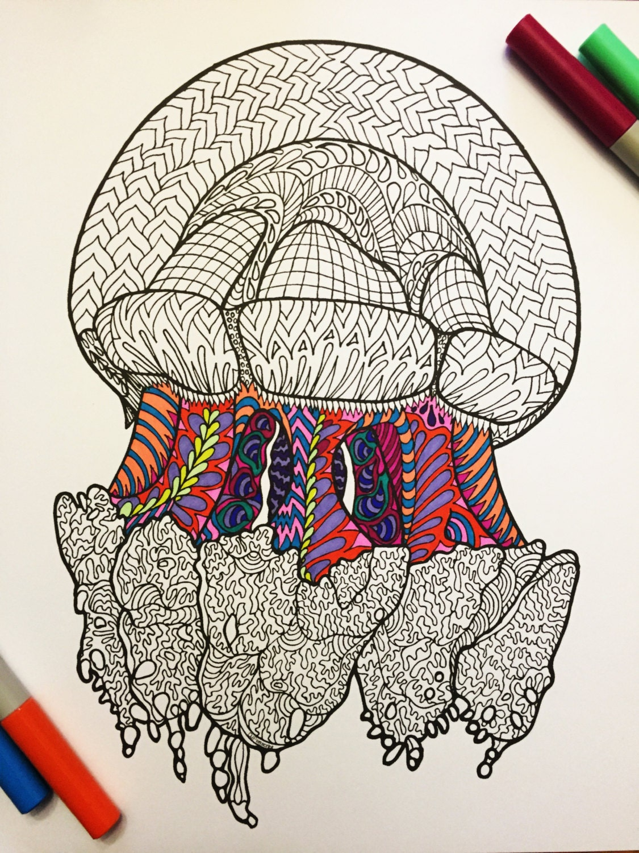 Ornate Cassiopeia Jellyfish PDF Zentangle Coloring By DJPenscript