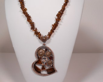 Amber glass heart