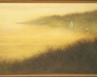 Egrets in the morning mist, large original framed oil painting