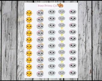 Weather Cutie Sticker, Kawaii Stickers, Planner Stickers