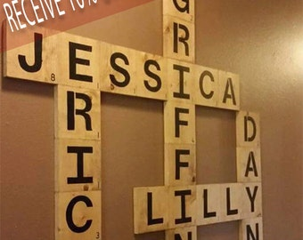 Personalized Scrabble Wall Art .. Family names . large wood tiles . hand painted..unique gifts..Letters/decor. Wedding gifts Christmas