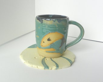 Mug and Coaster with Fish Design