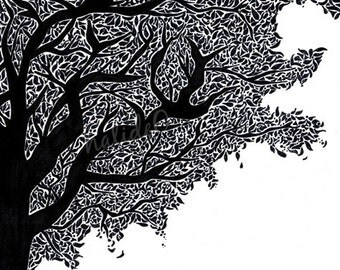 Tree Art - PRINT of Original Black and White Ink Drawing | pattern | shapes | nature | landscape | leaves | artwork