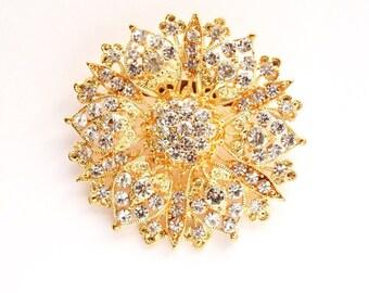 Gold Rhinestone Brooch Crystal Brooch Wedding Accessories Bridal Brooch bouquet Hair comb