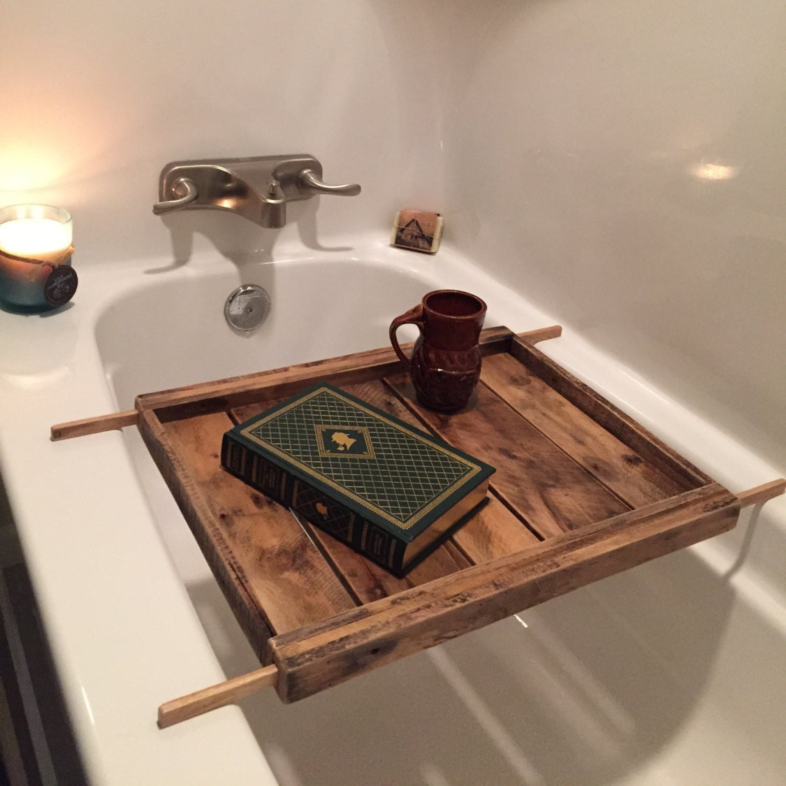 adjustable bath tray reclaimed wood tub by basicelementsbymike. Black Bedroom Furniture Sets. Home Design Ideas
