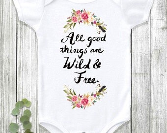 Boho Baby, Bohemian Baby, Baby Girl Clothes, Flower Onesie, Cute Baby Clothes, Baby Shower Gift, Baby Onesie®, Wild and Free, Floral Clothes