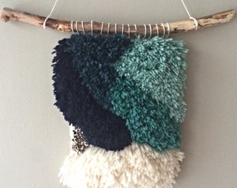 Handmade woven wall hanging in sea green ombre with hematite stones