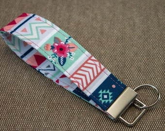 "Geometric Floral Chevron 5"" Key Fob / Key chain / Wrist Strap / Key Ring"