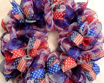 Summer Wreath, Fourth of July Wreath, Fourth Of July, 4th of July Wreath, 4th of July, July 4th Wreath, Fourth of July Decor