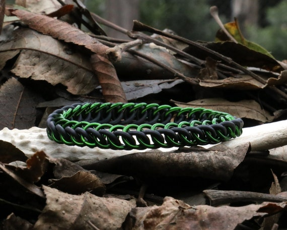 Green and Black Half Persian Stretchy Chainmaille Bracelet - Stretch Chain Maille Jewelry - Rubber Stretch Chainmail Bracelet Cuff