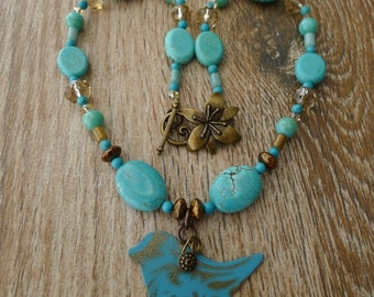 Turquoise bird necklace, southwestern, metal bird, handmade, no. NECK-383
