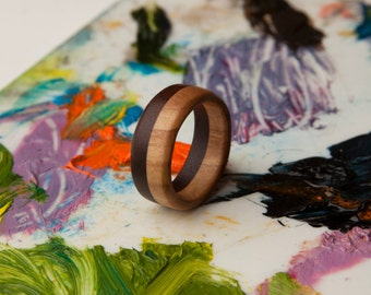 Olive/Walnut Wood Ring 8mm - Free US Shipping