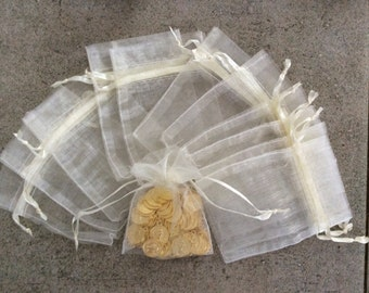 12 pc Ivory 2x3 organza gift bags jewelry pouches bulk wedding party bridal shower baby shower