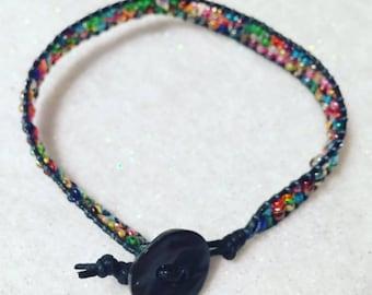 Rainbow Seed Bead Wrap Bracelet