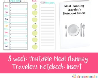 8 Week Meal Planner - Printable Planner - Travelers Notebook Insert - Meal Planning - Shopping List - Weekly Meal Planner - Instant Download