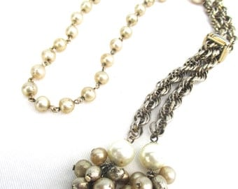 Vintage Bead Pearl Necklace Lariat Necklace Mixed Chain Necklace 1970 70s Necklace