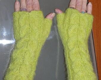 Fingerless Gloves Ice Mohair Yarn Mid length