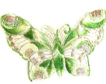 Butterfly Patch, 1930s vintage embroidered applique. Vintage patch, sewing supply. Applique, Crazy quilt. #645G116K26