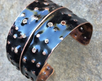 Copper Cuff Bracelet - hammered drilled holes textured distressed fold formed black india ink patina jewelry