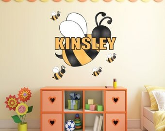 Bumblebee Wall Decal- nursey, bees, wall art, childs room, playroom, bumblebee, black and yellow, buzz buzz