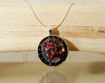 Glass Pendant with Silver Chain