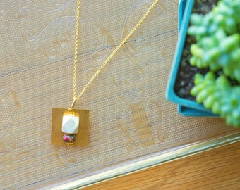 Essential Oil Diffuser Necklace with choice of Essential Oil Blend // Wood & Mixed Jasper Pendant