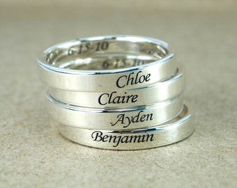Custom name ring band ring, sterling silver personalized promise ring, mothers ring, stackable name ring, baby name ring, date ring