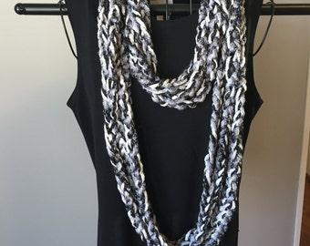 Handmade sparkly finger crochet scarf/cowl