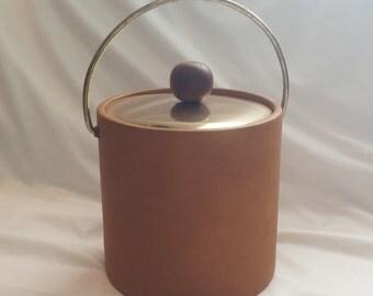 1970s Kraftware Gold and Vinyl Ice Bucket
