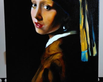 Hand-painted Reproduction - 'The Girl with a Pearl Earring' (1658) - Vermeer