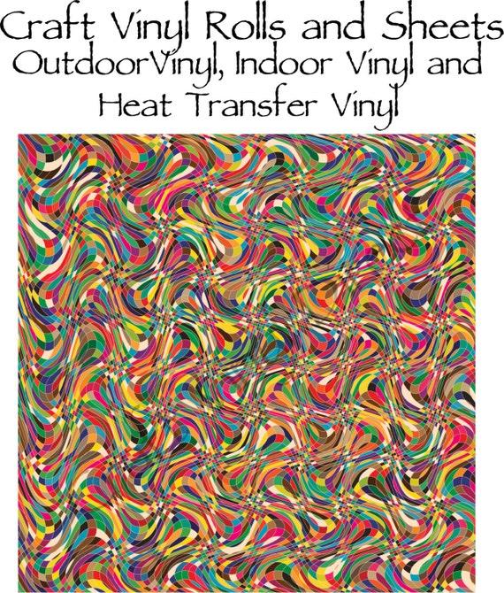 Beautiful, Vibrant Craft Vinyl in a Multi Color Wavey Pattern 217