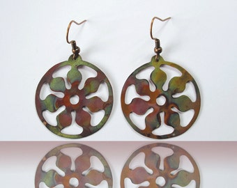 copper hoop earrings, flower earrings, gasoline, gift for environmentalist