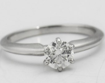 Solitaire Diamond Engagement Ring in 14k White Gold
