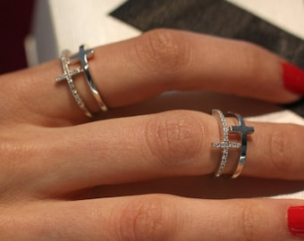 Cross Ring | Sterling Silver Cross Ring | Silver Rings for Women adjustable Rings