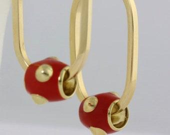 Red Enamel Hoop Earrings, 14k Gold Hoop Geometric Jewelry