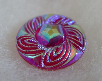 Czech glass button - AB finish, red - 27 mm