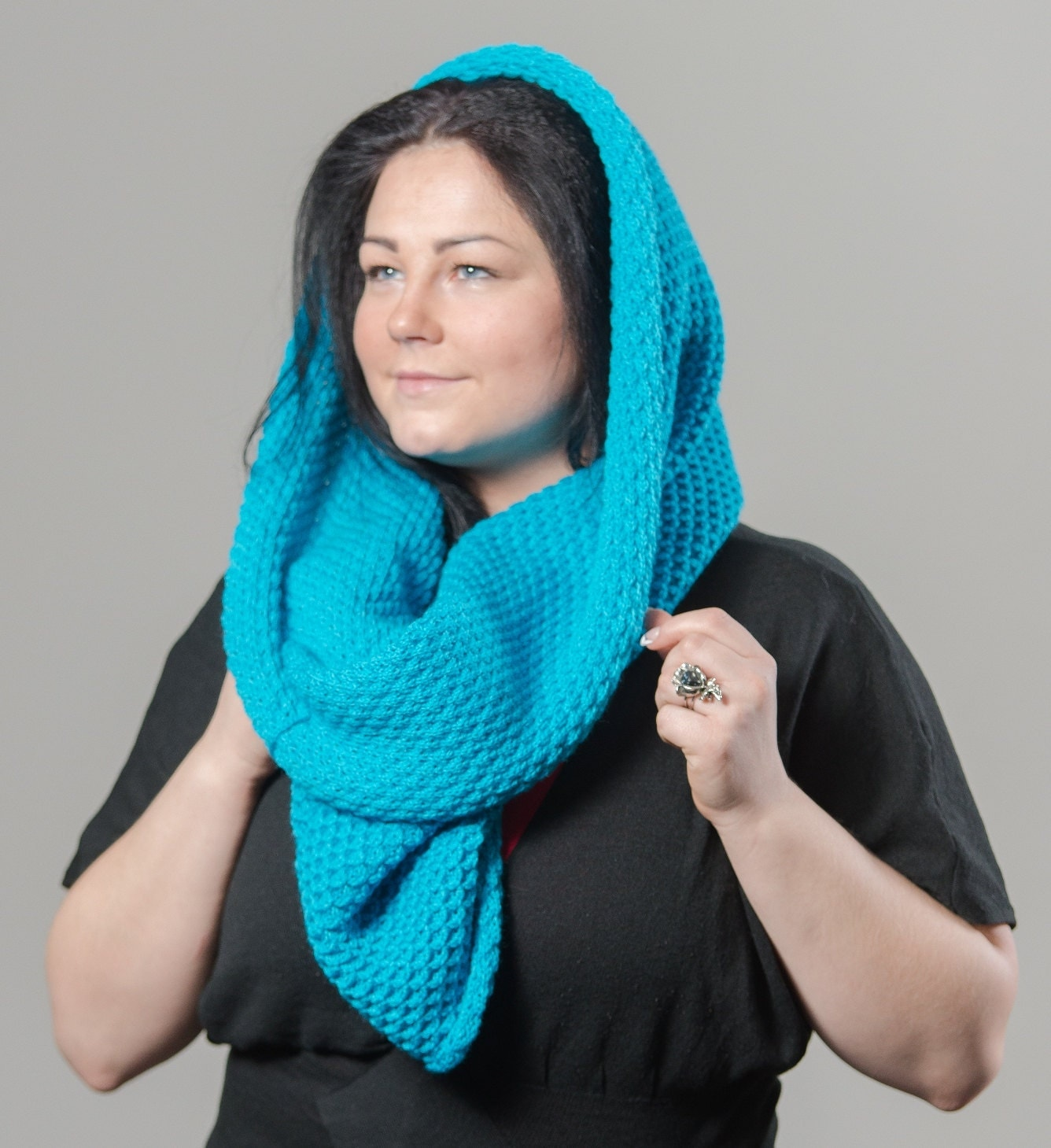 unique handmade scarf hooded scarf arm knit scarf hooded