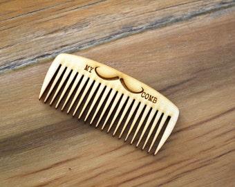 Custom Wood Mustache Comb