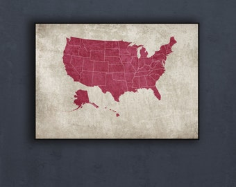 United States Map Etsy - Us map poster printable