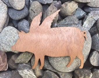 Flying Pig with Wings Hog Wild Walnut Wooden Laser Cut Sticker