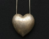 Jan Yager Signed Vintage Sterling Silver Heart Pendant Necklace - Perfect Valentine's Gift