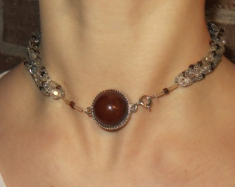 Beaded Choker Necklace - Brown and White