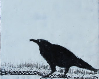 "Original Encaustic Painting, ""Crow"""