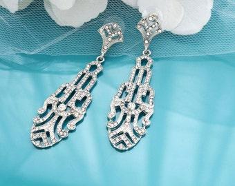 Art Deco earrings, Silver bridal earrings, Rhinestone wedding earrings, Art Deco jewelry, 1920s bridal jewelry, 1920s earrings 11294