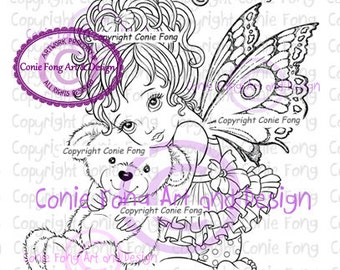 Digital Stamp, Digi Stamp, digistamp,  Precious by Conie Fong, Coloring Page, Baby Girl, Fairy, Teddy Bear