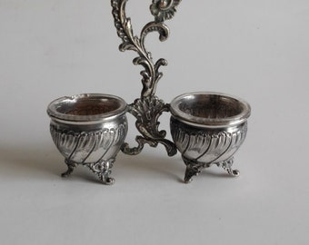 Salt and pepper, bowls, silver plated, french vintage, Louis XV, footed bowls, pepper, salt shakers, decor table, centerpiece, serving dish